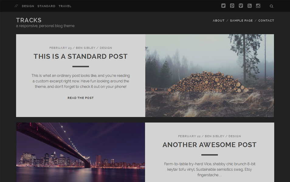 Tracks Free Photography WordPress Theme