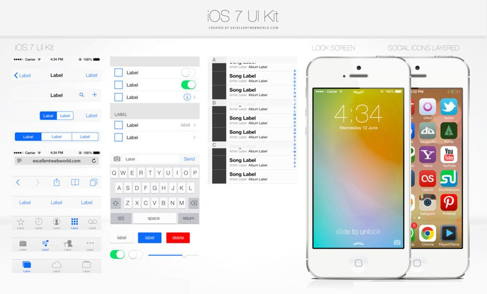 iOS7 GUI kit free
