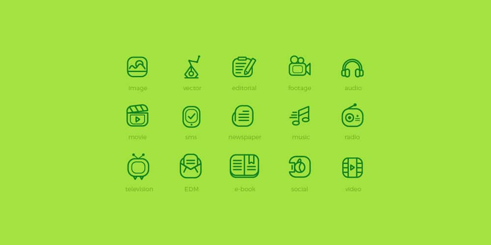 Media Flat Outline Icons