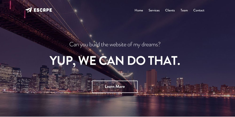 Escape One Page PSD Web Template