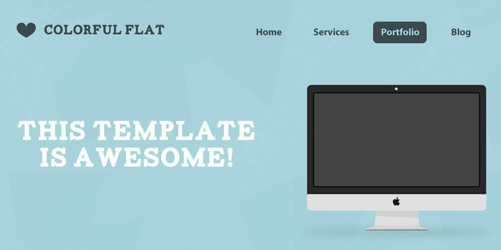 Flat One Page Web Template PSD