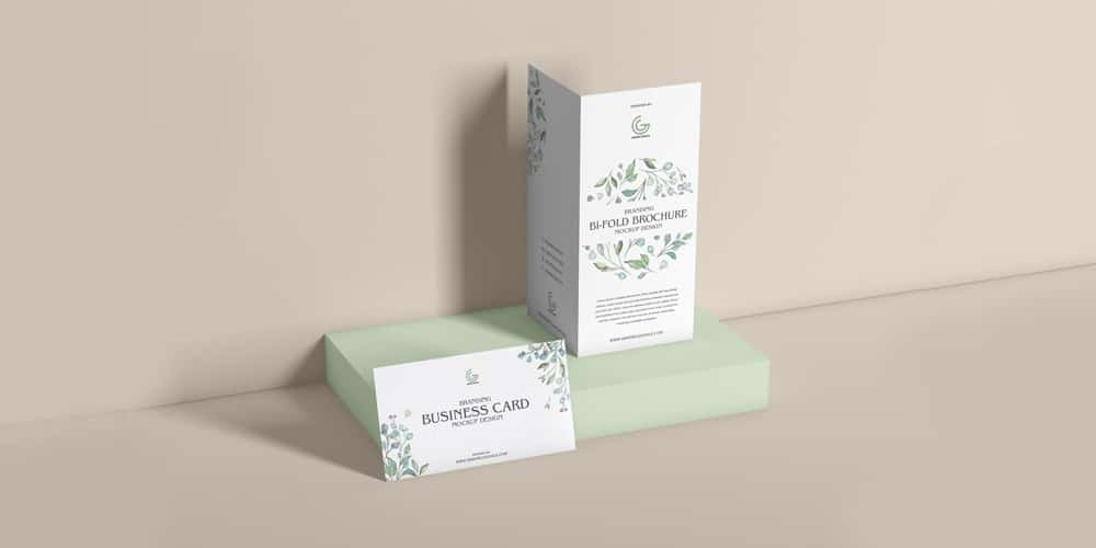Bi-Fold Brochure With Business Card Mockup Design
