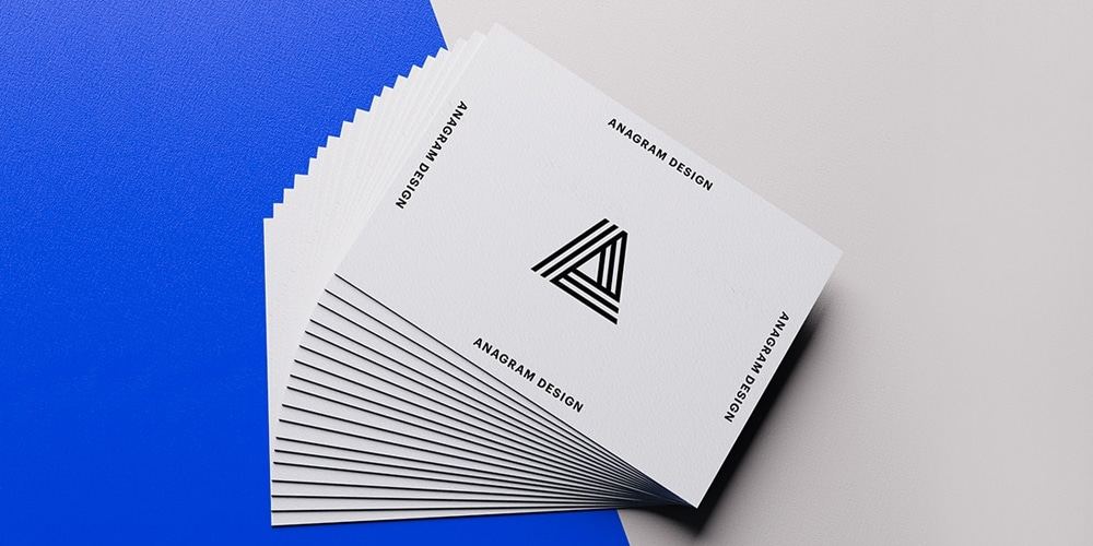 Blue Business Cards Mockup