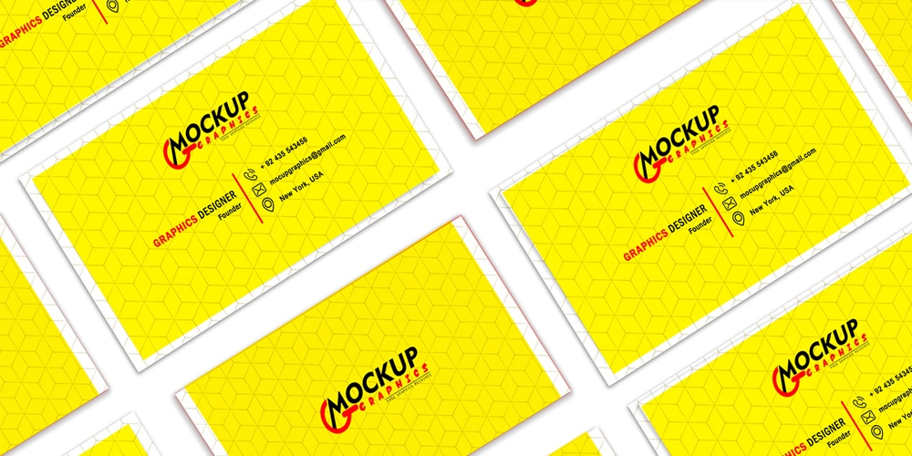 Business Card Grid Mockup PSD