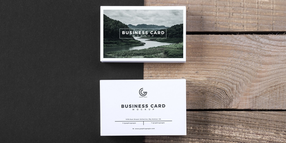 Business Card With Wooden Texture Background