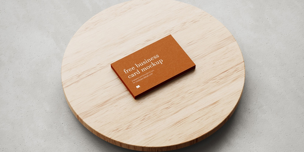 Business Card Mockup on Wood and Concrete
