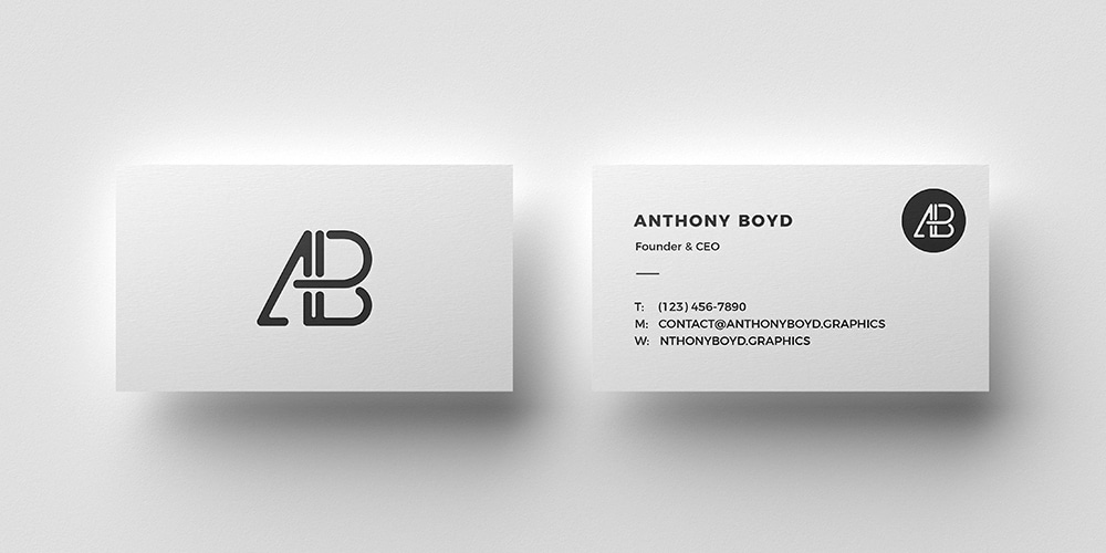 Business Card Top View Mockup PSD