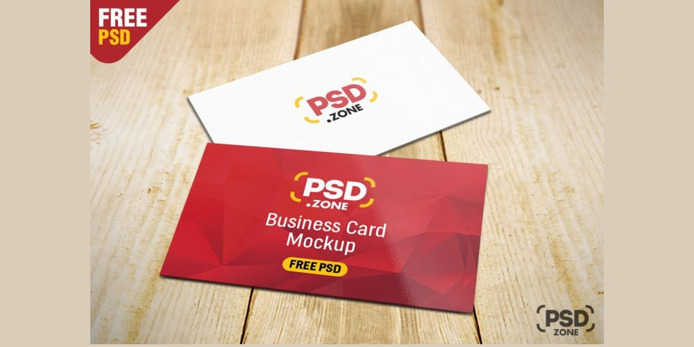 Business Card on Table Mockup PSD