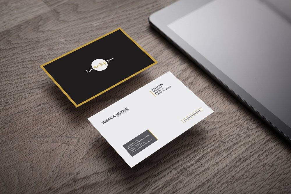 Business Card on Wooden Table Mockup