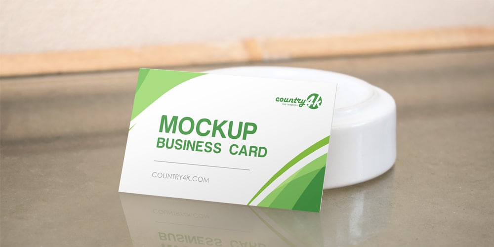 Business Card on the Table PSD MockUp
