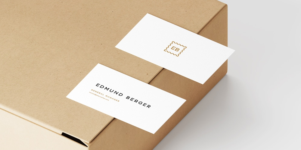 Business Cards Mockup On Box