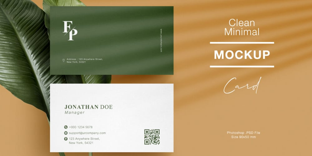 Clean Minimal Business Card Mock Up