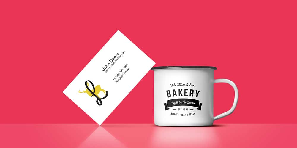 Coffee Cup Business Card Mockup