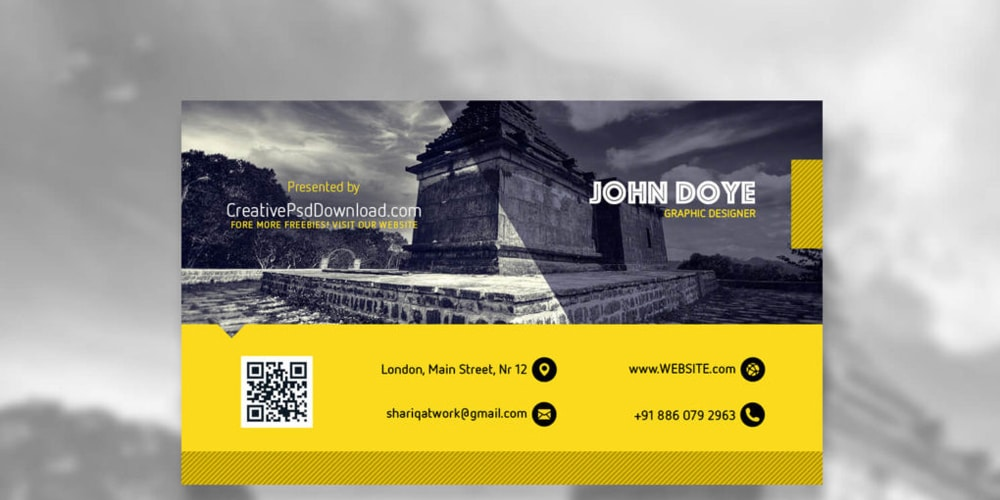 Creative Yellow And Grey Business Card Mockup PSD