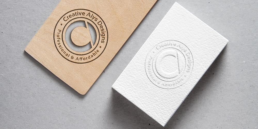 Cutout Wood and Embossed Business Card MockUp