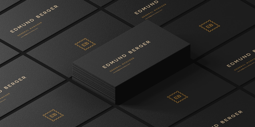 Dark Isometric Business Card Mockup