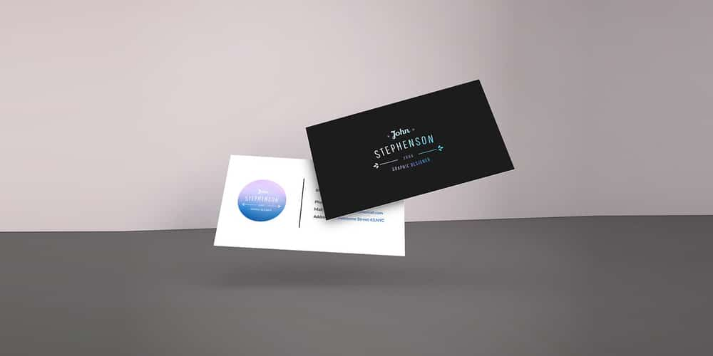 Falling Business Cards Mockup PSD