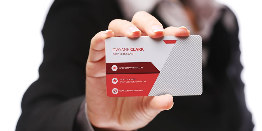 Female Hand holding Business Cards Mockup