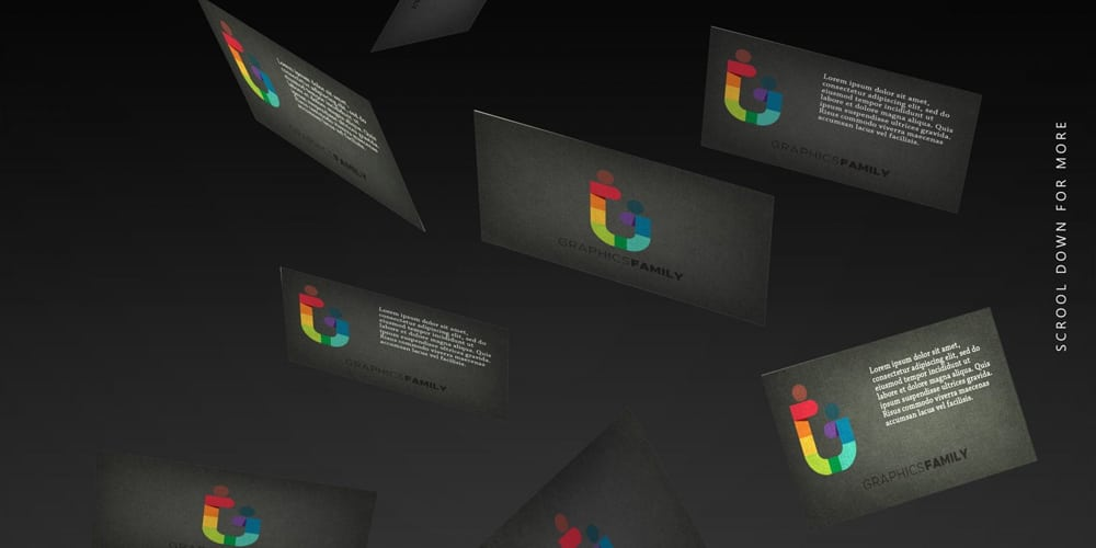 Floating Business Cards Showcase Mockup