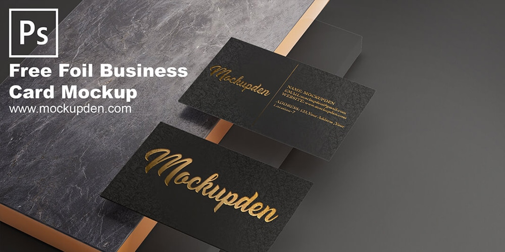 Foil Business Card Mockup Template