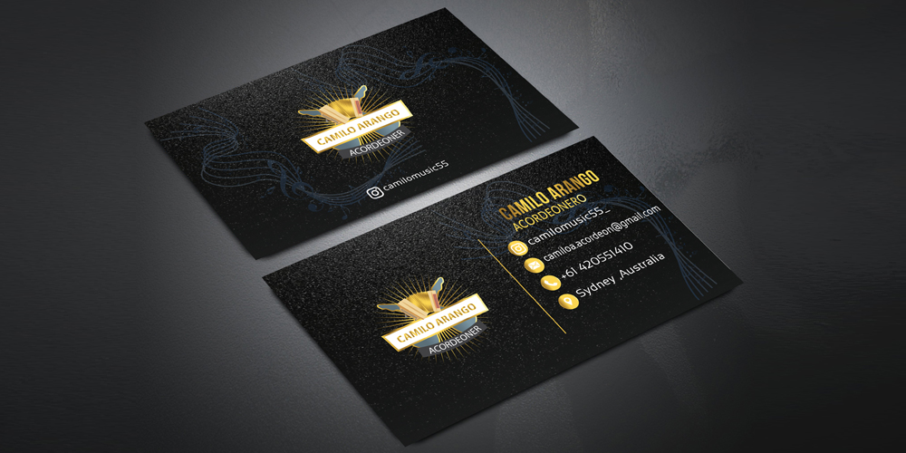 Free 8 Golden and Black Business Card