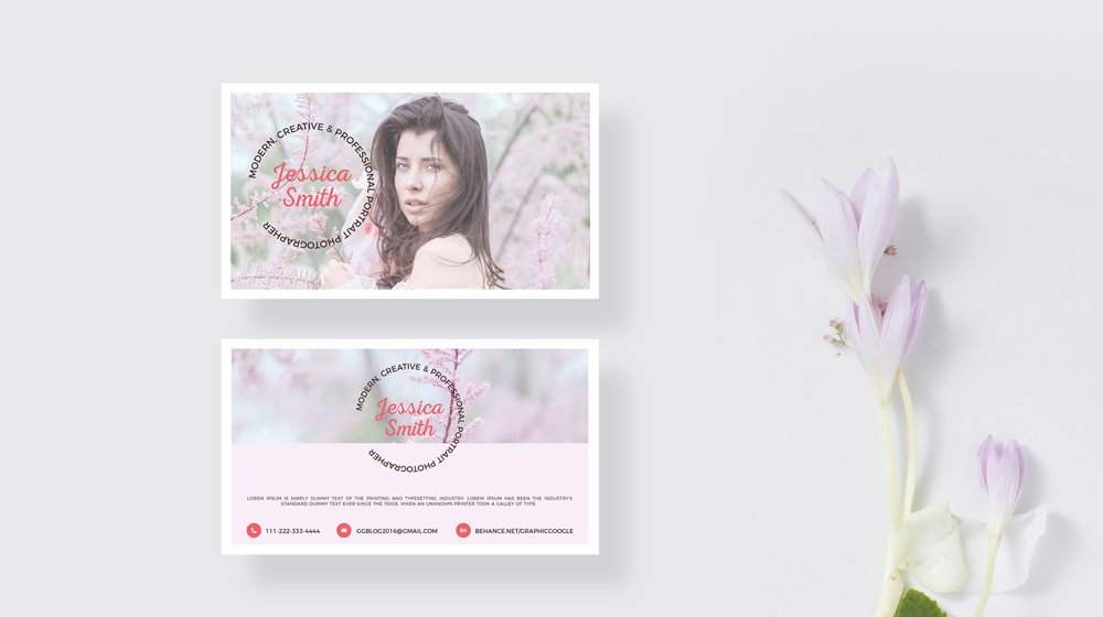 Free Blooming Business Card Mockup PSD