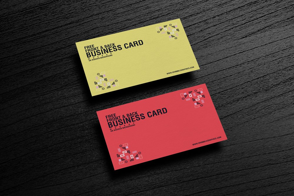Free Business Card Mockup PSD on Wooden Background