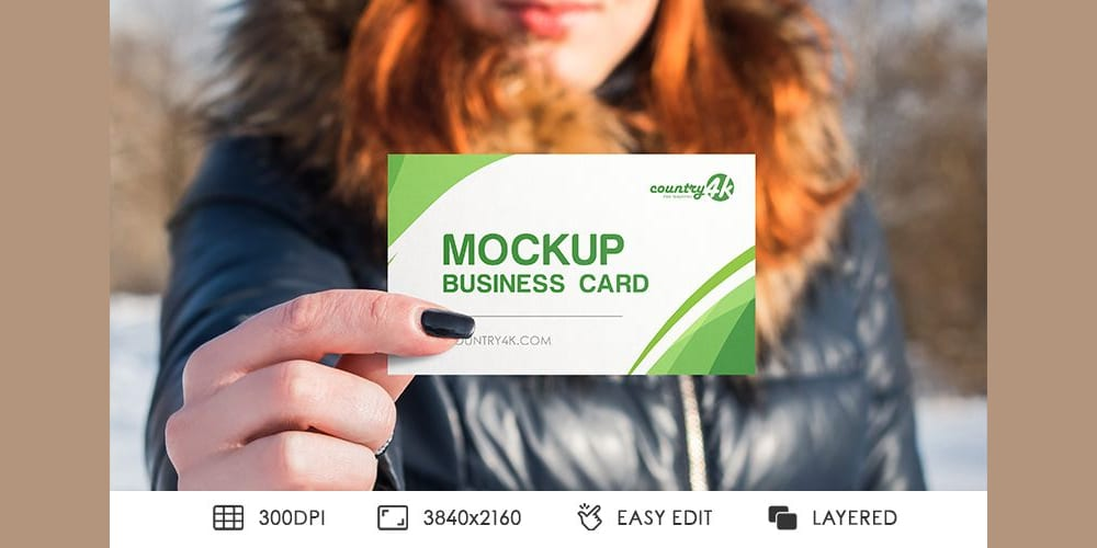 Free Business Card in Hand PSD MockUps in 4k