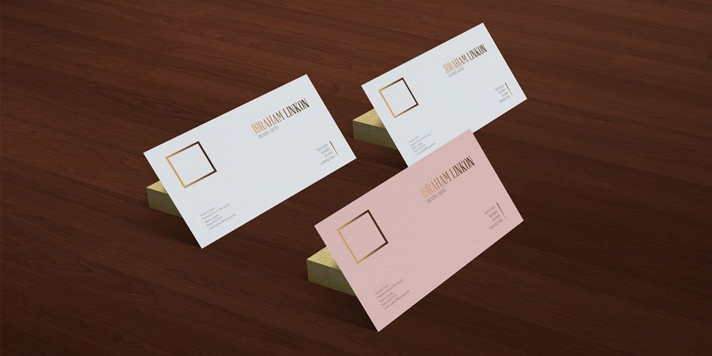 Free Business Card on Wooden Floor Mockup PSD