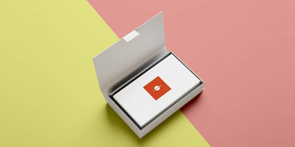 Free Business Cards in Box Mockup PSD