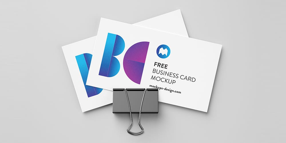 Free Business Cards with Foldback Clip Mockup PSD