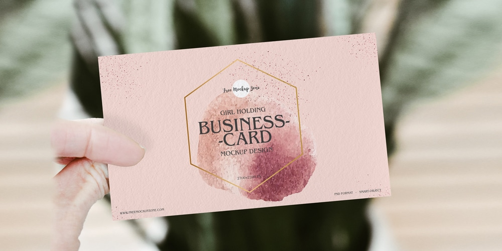 Free Girl Holding Business Card