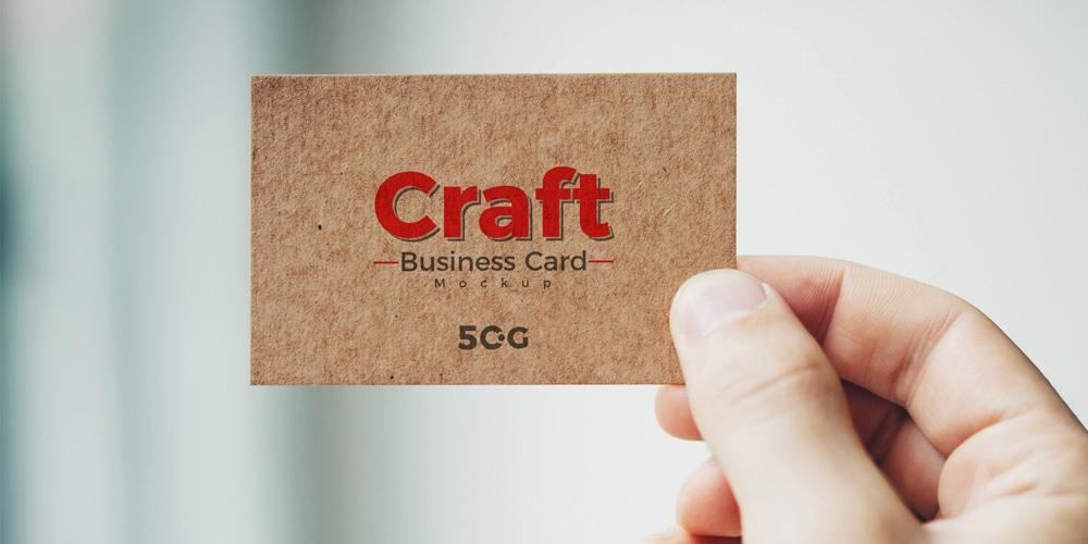 Free Man Holding Craft Business Card