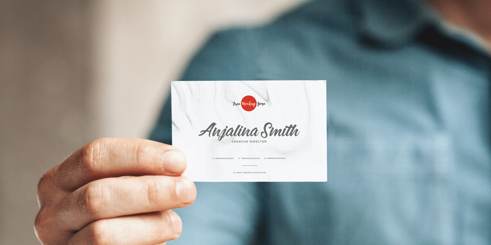 Free Man Holding in Hand Business Card