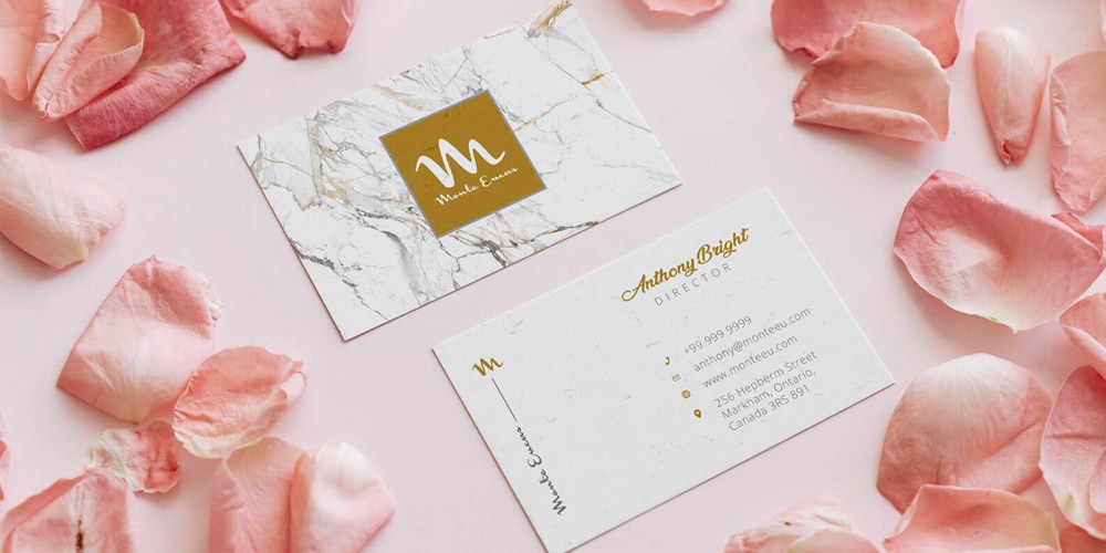 Free Pink Rose Petal Business Card Mockup PSD