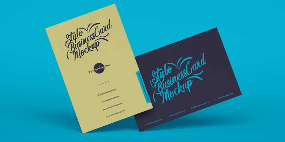 Free Stylo Business Cards Mockup PSD