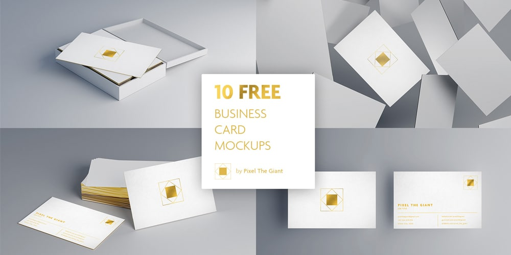 Free White Gold Business Card Mockups