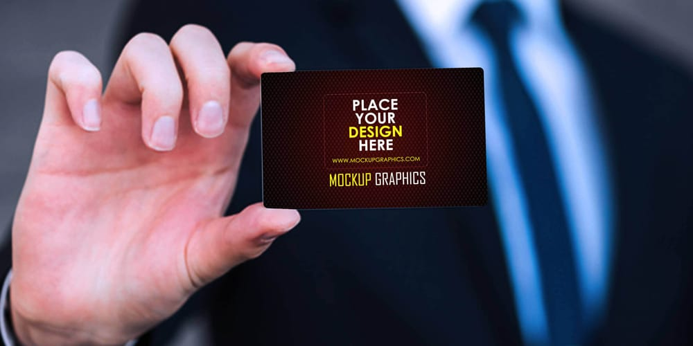 Holding Business Card Mockup