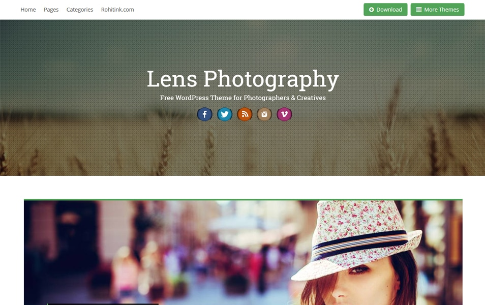 Lens Responsive Photography WordPress Theme