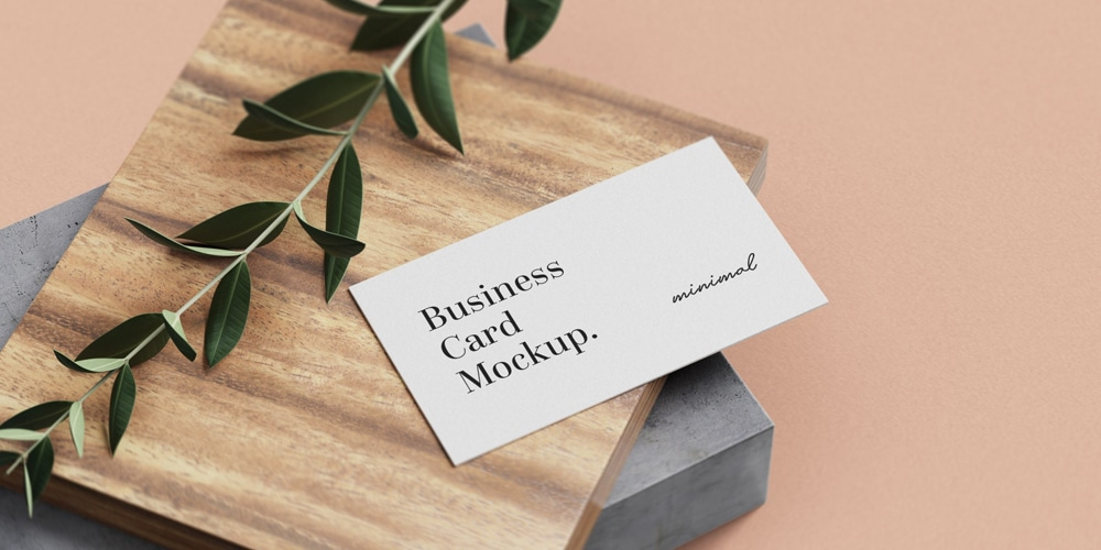 Minimal Business Card Mockup on Wood