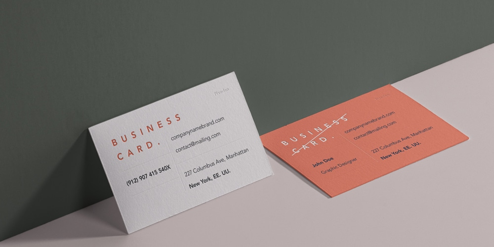 Perspective Business Card Branding Mockup