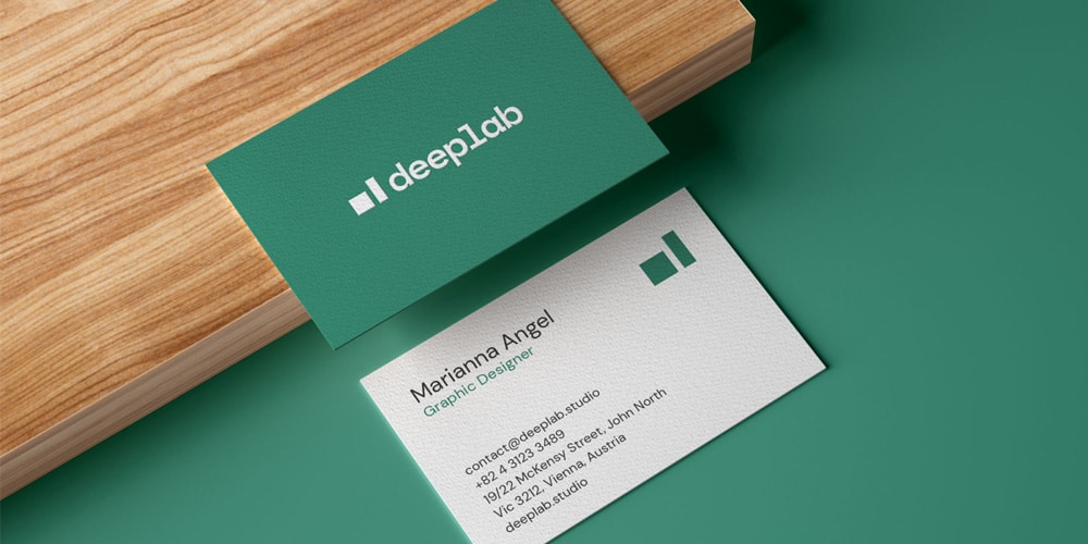 Realistic Business Card Mockup on Wooden Board