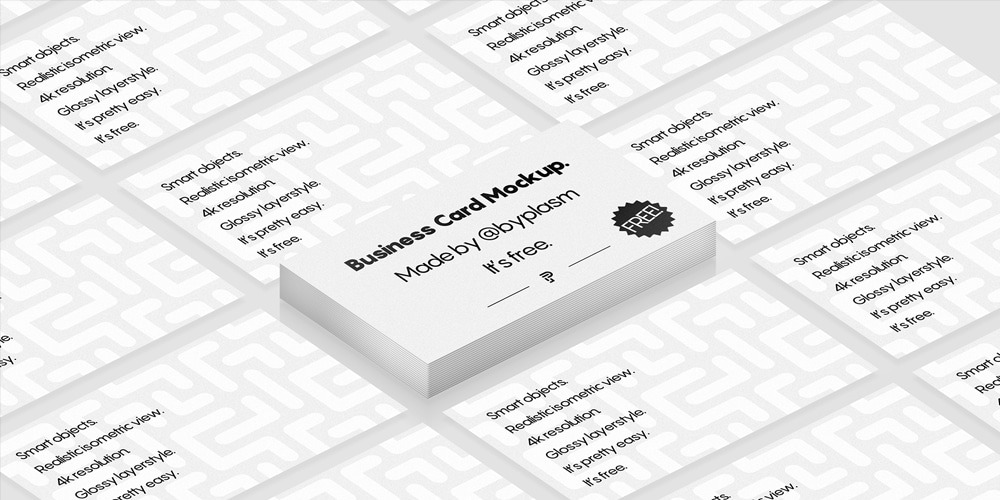 Realistic Isometric Business Card Mockup