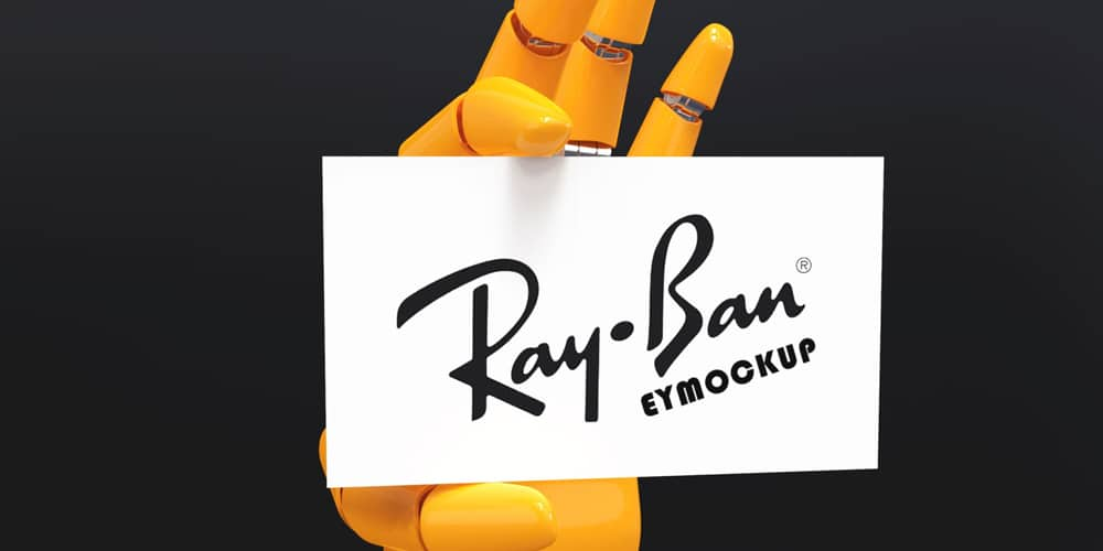 Robot Hand Business Card Mockup
