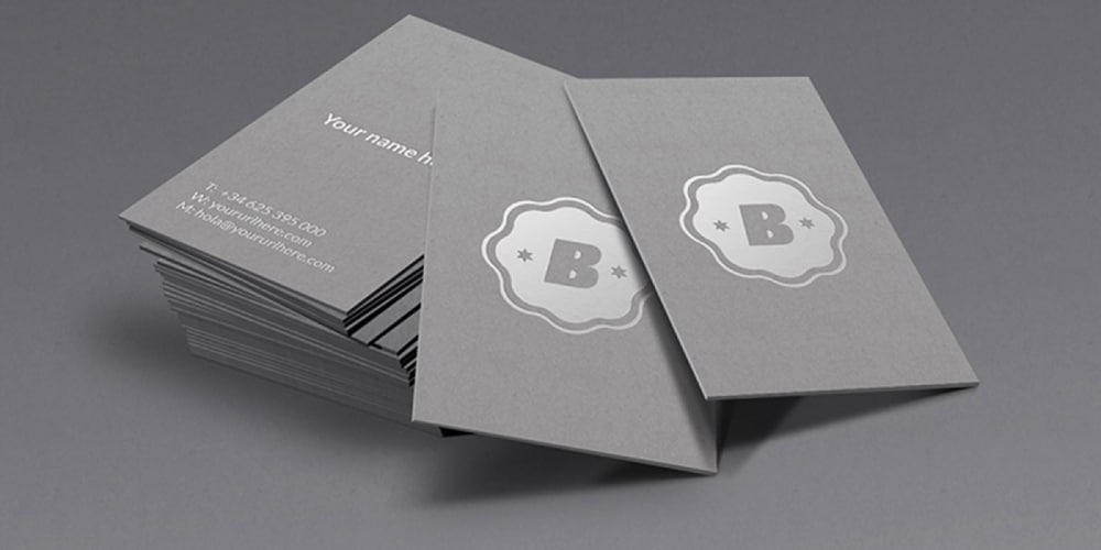 Silver Business Card Mockup Psd
