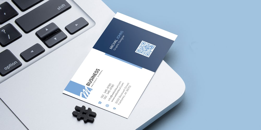Simple Business Card Mockup on MacBook