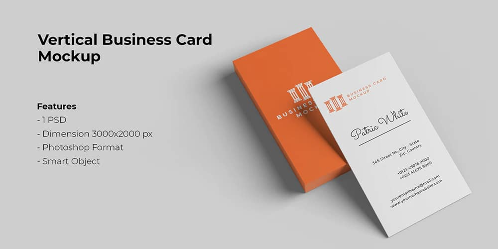 Stack Vertical Business Card Mockup