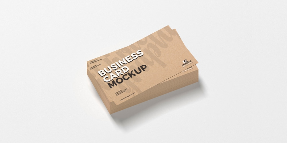 Stack of Kraft Business Cards Mockup PSD