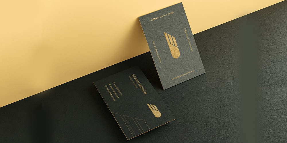 Textured Paper Gold Foil Business Card Mockup
