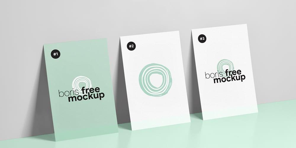Three Business Cards Mockup